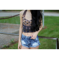 Deep Purple and Taupe Boho Halter Top.