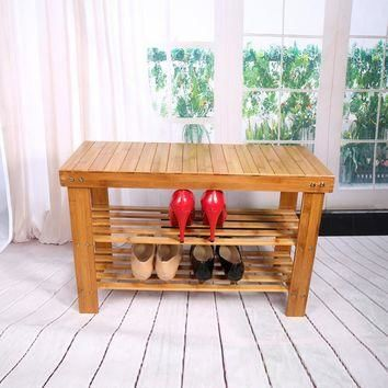 Shoe Lasts Shelves 2 Tier Shoe Shelf Natural Bamboo Shoe Rack Bench Storage Organiser