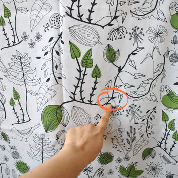 IKEA cotton batiste fabric, cottage garden, white green cotton fabric, cotton dressmaking fabric, floral bird  abstract, designer cotton