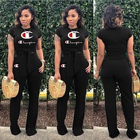 Champion Summer Fashionable Women Print Top Pants Set Two-Piece Black