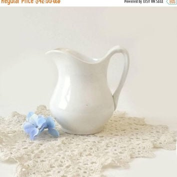 Vintage White Ironstone Pitcher, The US Pottery Co Wellesville OH, Farmhouse Kitchen Decor, Semi Vitreous Porcelain