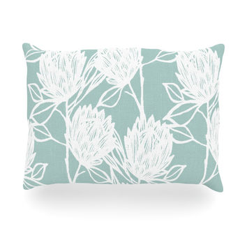 "Gill Eggleston ""Protea Jade White"" Blue Flowers Oblong Pillow"