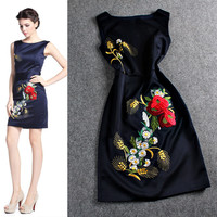 Solid Floral Embroidered Sleeveless Mini Dress