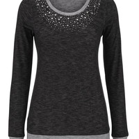 Embellished Long Sleeve Pullover - Gray