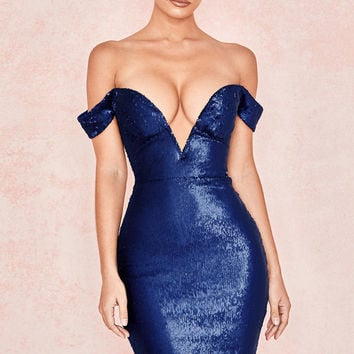 Clothing : Bodycon Dresses : 'Dante' Navy Sequin Bardot Dress