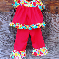 Toddler ruffled dress and ruffled pants, size 12/18 months, red, baby
