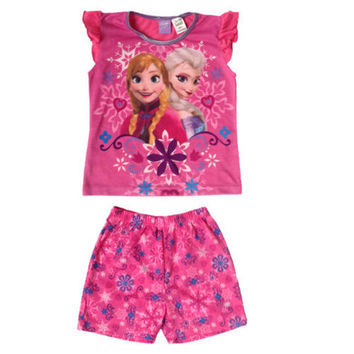 2016 New Arrival Retailed Girls 2Pieces Set Anna and Elsa Sleepwear Pajamas Skull 2-6Y Outfits Kids Top Nightwear Nightgown New