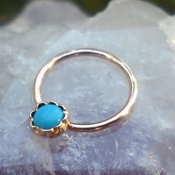 Turquoise 3mm Stone Nipple Ring Piercing/Septum Ring/Nose Ring/Conch Piercing 14K Yellow Gold Filled Handcrafted