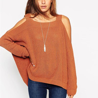 Cold Shoulder Strap Batwing Sleeve Sweater