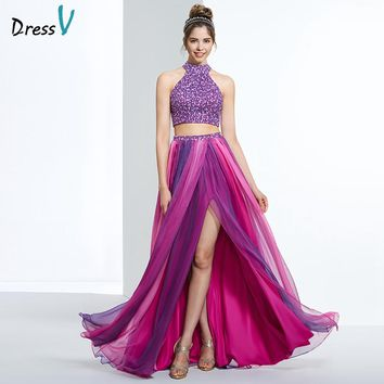 halter a line beading split front long prom/homecoming/quinceañera/ dress