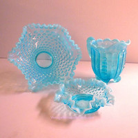 Fenton Aqua Blue Hobnail Opalescent Crimped Rim Footed Bowl