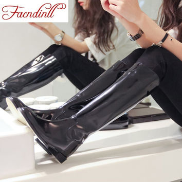 high quality knee high boots patent leather women full grain leather boots comfortable lady army long boots winter warm boots