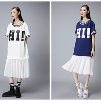 women summer dress in white,navy,chiffon pleated hen,casual,knee length,letter printed,loose fit,preppy style,sporty.--E0136
