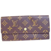 Auth LOUIS VUITTON Credit Long Bifold Wallet Purse Monogram Brown M61724 62V2002
