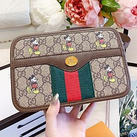 GUCCI & Disney New fashion mouse more letter print leather chain crossbody bag shoulder bag