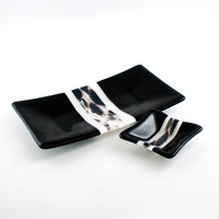 Men's Valet, Dresser Tray, Coin Dish, Jewelry Holder, Black and White, Fused Glass, Vanity Set, Master Bedroom Decor, Unique Gifts for Men