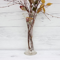 Vintage Tall Clear Glass Flower Vase with Crimped Top | Wedding Decoration & Centerpiece