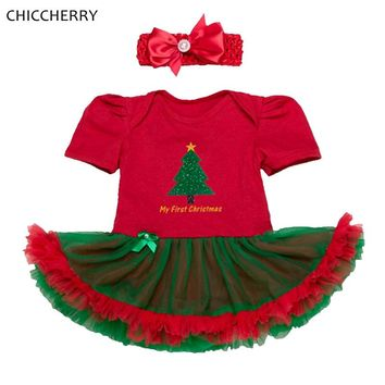 My First Christmas Toddler Girl Outfits Red Baby Lace Romper Tulle Dress Headband Set Christmas Dress Vestido Bebe Infant Clothe