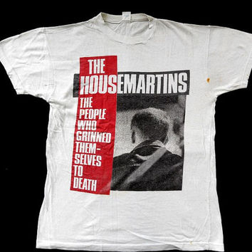 Ultra Vintage Vtg Rare 80's THE HOUSEMARTINS Fatboy Slim Indie Pop New Wave Concert T shirt