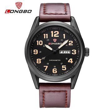 New Arrival Leisure Business Series Watches Leather Date Calendar Men Waterproof Wrist Watches