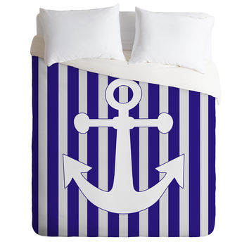 Lara Kulpa Navy Anchor Duvet Cover