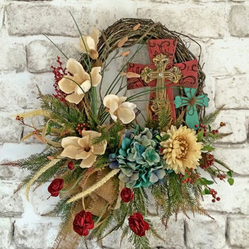 Cross Wreath, Summer Wreath, Front Door Wreath, Outdoor Wreath, Silk Floral Wreath, Grapevine Wreath, Fall Wreath, Red, Turquoise, Gold