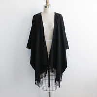Vintage 70s Black Woven Poncho Shawl with Fringe | fits all