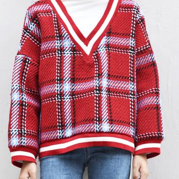 Red Plaid Contrast High Neck Long Sleeve Knit Sweater