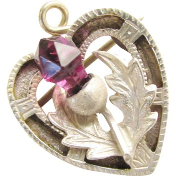 Antique Sterling Scottish Purple Thistle Heart Brooch Pin Pendant 1916 Plaid Pin