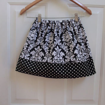 Girls Fall Skirt Twirly Skirt Fall clothing Toddler Skirt Michael Miller Damask Black Damask Skirt Dumb Dot Fabric Back to School Skirt