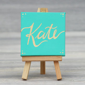 "Mini Canvas and Easel, Aqua with Gold Name / Personalized Desk Accessories / Unique Wedding Favors / 3"" x 3"" Canvas"