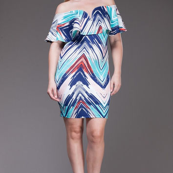 Abstract Chevron Plus Midi Dress