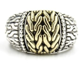 John Hardy Classic Chain Sterling Silver Ring with 18k Yellow Gold, Size 8