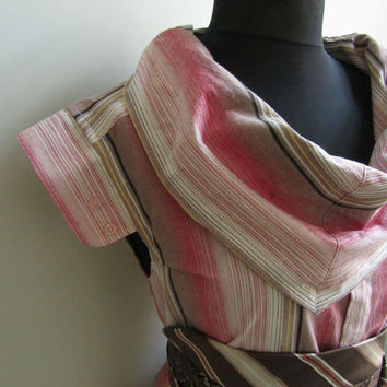 Cowl Neck Tunic, Red Striped Shirt, Womens Blouse, Eco Shirt, Upcycled Mens Shirts, Cowlneck Shirt, Eco Friendly Apparel