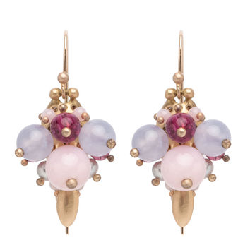 Ted Muehling 18K Pink Opal and Tourmaline Bug Cluster Earrings