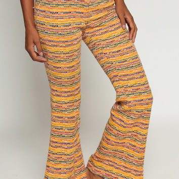 Bell Bottom Pants 70s Hippie Trousers Striped PSYCHEDELIC High Waisted boho Flared Festival Yellow Bohemian Seventies Extra Small xs