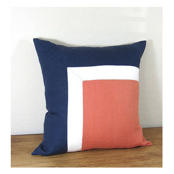 Side Square Modern Colorblock Pillow Cover - Navy/ Ivory/ Persimmon Combo