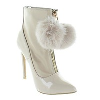 Shake It Up Nude Pompom Booties