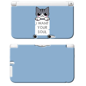 I Want Your Soul Art Print Nintendo 3DS XL Plastic Case Cat Kitten Geeky Nerdy