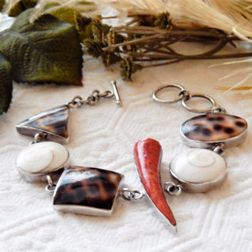 Unique Handmade Sterling Silver Coral Tiger Cowrie Puka Shell Bracelet
