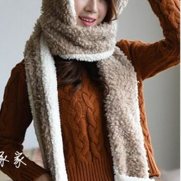 Antlers Winter Warm Women Scarf Hoodie Gloves Pocket Earflap Hat Long Scarf Shawl Snood Wraps Christmas Animal Deer Trapper Hat