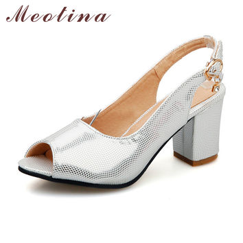 Meotina Concise Lady's Sandals Summer Peep Toe Slingback Chunky High Heels Female Rhinestone Silver Gold Shoes Large Size 9 10