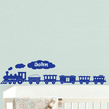 rvz605 Wall Decal Sticker Nursery Kids Baby Custom Name Words Cloud Train Boy