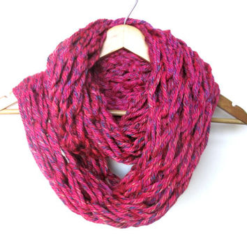 Arm Knitted Infinity Scarf- Fuchsia Explosion, Chunky Knit Scarf, Knit Loop Scarf, Knit Circle Scarf, fuchsia knit scarf, arm knit