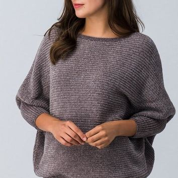 Chunky Knit Dolman Sweater - Pearl Grey
