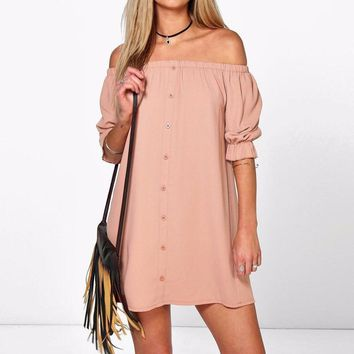 2017 Summer Sexy Off the Shoulder Beach Dress Women Casual Loose One Word Shoulder Dress Party Club Dresses