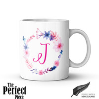 Customised Pink Floral Monogram Letter Ceramic Mug - Quote Mug, Statement Mug, Unique Coffee Mug, Gift Mug, Gift Idea for Her, Name Mug