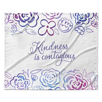 "Noonday Design ""Kindness Is Contagious"" Purple Magenta Fleece Throw Blanket"