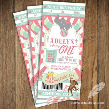 Pastel Circus Carnival Ticket Birthday Invitations