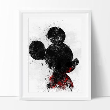 Mickey Watercolor Art Print,  Disney watercolor, Watercolor Mickey Mouse, Wall art,Watercolor Painting, Disney poster, Kids decor (296)